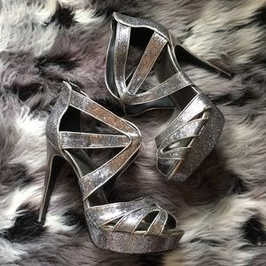 "Guess Silver Sparkle 5"" Stilettos Club Dance 10M"